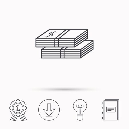 wads: Cash icon. Dollar money sign. USD currency symbol. 2 wads of money. Download arrow, lamp, learn book and award medal icons.