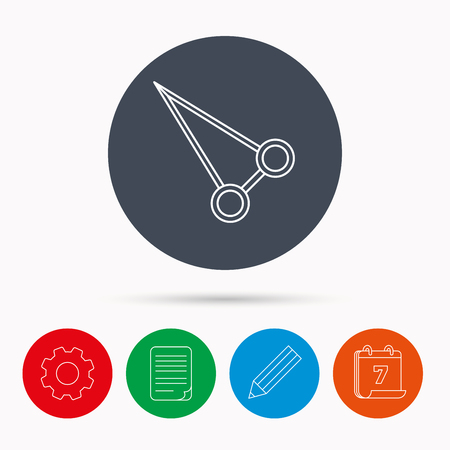 hemostat: Pean forceps icon. Medical surgery tool sign. Calendar, cogwheel, document file and pencil icons.