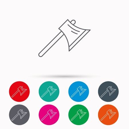 steel worker: Axe icon. Worker equipment sign. Steel weapon symbol. Linear icons in circles on white background.