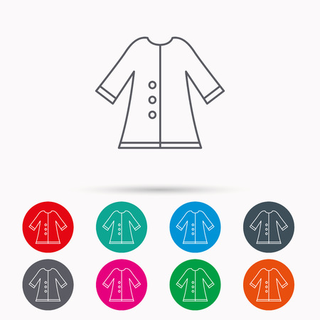 outerwear: Cloak icon. Protection jacket outerwear sign. Gardening clothes symbol. Linear icons in circles on white background.
