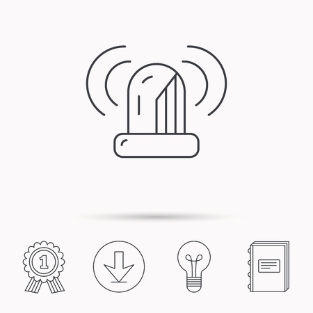 flashing light: Siren alarm icon. Alert flashing light sign. Download arrow, lamp, learn book and award medal icons.