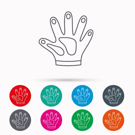 Construction gloves icon. Textile hand protection sign. Housework cleaning equipment symbol. Linear icons in circles on white background.