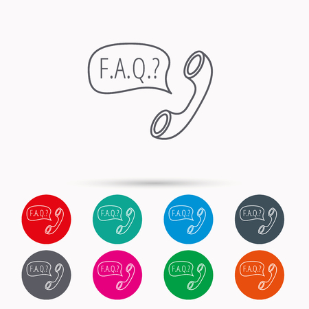 inquiry: FAQ service icon. Support speech bubble sign. Phone symbol. Linear icons in circles on white background.