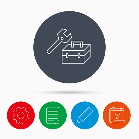 document file: Repair toolbox icon. Wrench key sign. Calendar, cogwheel, document file and pencil icons. Illustration