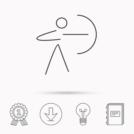 longbow: Archery sport icon. Archer with longbow sign. Aiming or targeting symbol. Download arrow, lamp, learn book and award medal icons.