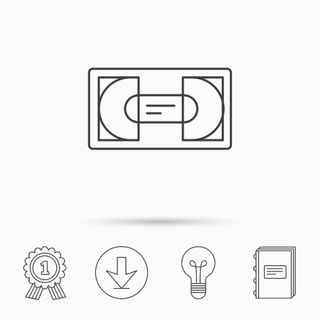 vcr: Video cassette icon. VHS tape sign. Download arrow, lamp, learn book and award medal icons. Illustration