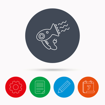 document file: Hairdryer icon. Electronic blowdryer sign. Hairdresser equipment symbol. Calendar, cogwheel, document file and pencil icons.