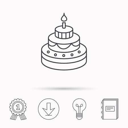 learning to cook: Cake icon. Birthday delicious dessert sign. Sweet food with candle symbol. Download arrow, lamp, learn book and award medal icons. Illustration