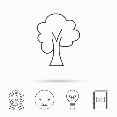 maple tree: Maple tree icon. Forest wood sign. Nature environment symbol. Download arrow, lamp, learn book and award medal icons.