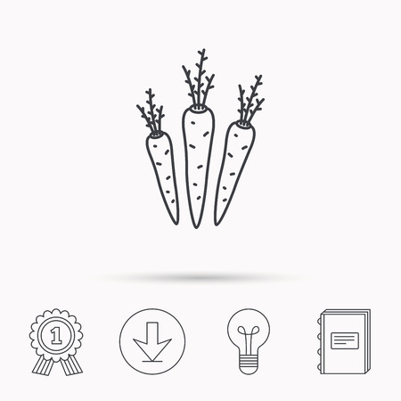 palatable: Carrots icon. Vegetarian food sign. Natural vegetables symbol. Download arrow, lamp, learn book and award medal icons. Illustration