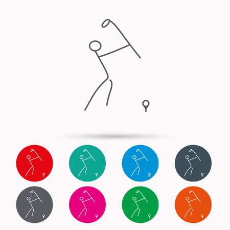 golfing: Golf club icon. Golfing sport sign. Professional equipment symbol. Linear icons in circles on white background. Illustration