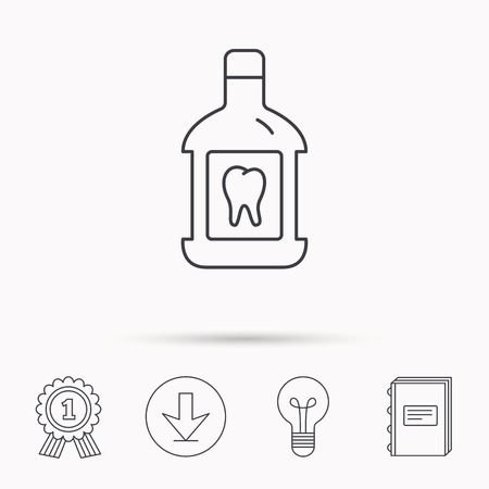 paradontosis: Mouthwash icon. Oral antibacterial liquid sign. Download arrow, lamp, learn book and award medal icons. Illustration