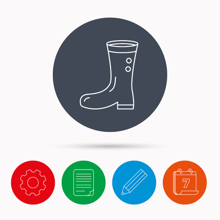 Boots icon. Garden rubber shoes sign. Waterproof wear symbol. Calendar, cogwheel, document file and pencil icons.