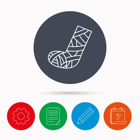 cast: Gypsum or cast foot icon. Broken leg sign. Human recovery medicine symbol. Calendar, cogwheel, document file and pencil icons.