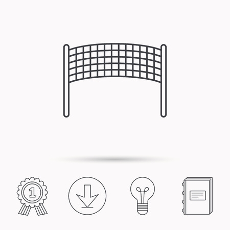net book: Volleyball net icon. Beach sport game sign. Download arrow, lamp, learn book and award medal icons. Illustration