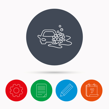 foam bubbles: Car wash icon. Cleaning station sign. Foam bubbles symbol. Calendar, cogwheel, document file and pencil icons.