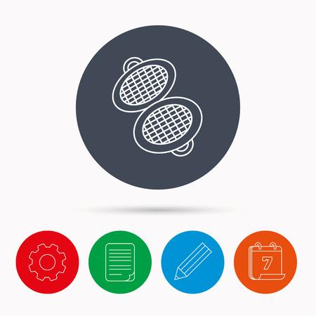 document file: Waffle iron icon. Kitchen baking tool sign. Calendar, cogwheel, document file and pencil icons. Illustration