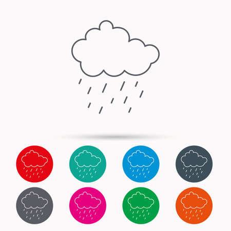 overcast: Rain icon. Water drops and cloud sign. Rainy overcast day symbol. Linear icons in circles on white background.
