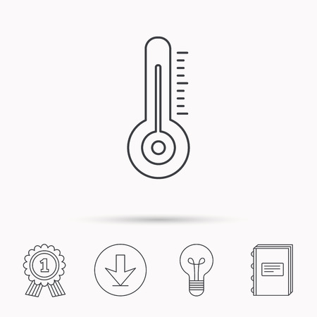 meteorology: Thermometer icon. Weather temperature sign. Meteorology symbol. Download arrow, lamp, learn book and award medal icons.