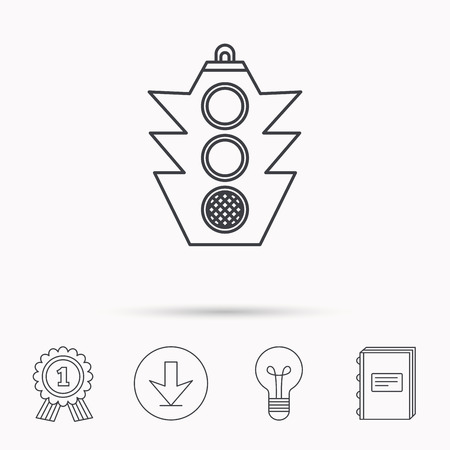 regulate: Traffic light icon. Safety direction regulate sign. Download arrow, lamp, learn book and award medal icons.