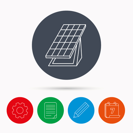 solar collector: Solar collector icon. Sunlight energy generation sign. Innovation battery power symbol. Calendar, cogwheel, document file and pencil icons.