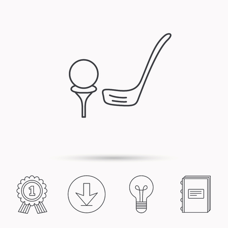 golfing: Golf club icon. Golfing sport sign. Professional equipment symbol. Download arrow, lamp, learn book and award medal icons.