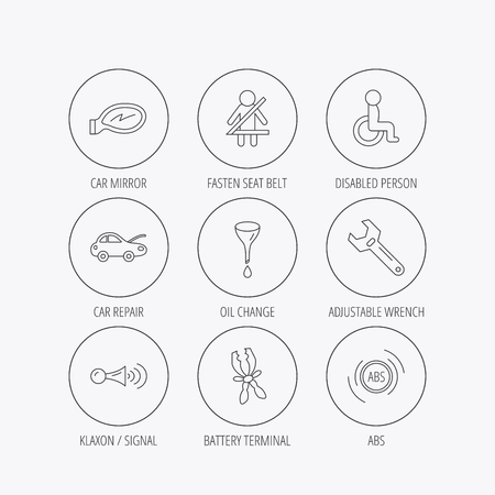 tool belt: Car mirror repair, oil change and wrench tool icons. ABS, klaxon signal and fasten seat belt linear signs. Disabled person icons. Linear colored in circle edge icons. Illustration