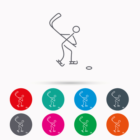 professional sport: Ice hockey icon. Professional sport game sign. Linear icons in circles on white background.