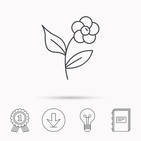 flower lamp: Flower with petals icon. Plant with leaves sign. Floral decoration symbol. Download arrow, lamp, learn book and award medal icons. Illustration