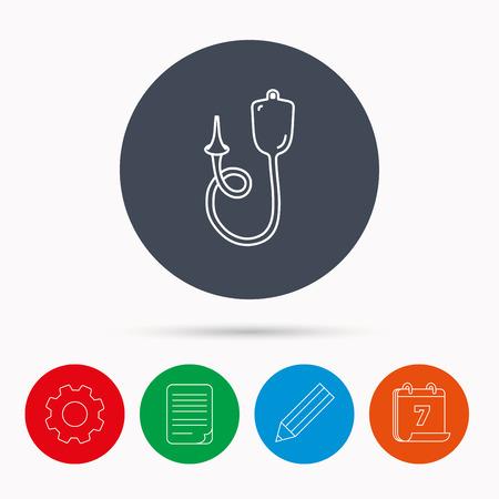 einlauf: Enema-Symbol. Medical Klistier Zeichen. Kalender, Zahnrad-, Dokument-Datei und Bleistift-Icons.