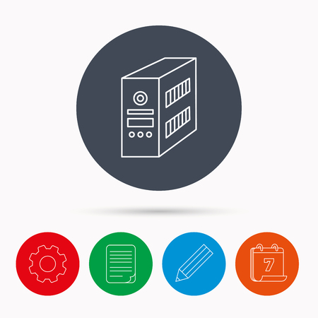 document file: Computer server icon. PC case or tower sign. Calendar, cogwheel, document file and pencil icons. Illustration