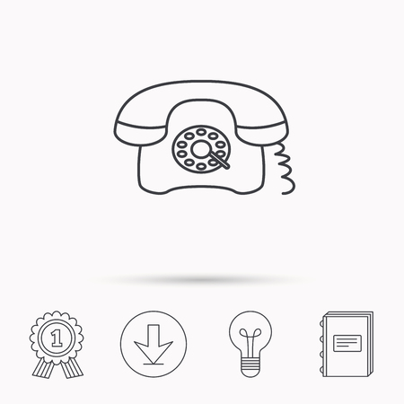 old telephone: Retro phone icon. Old telephone sign. Download arrow, lamp, learn book and award medal icons.