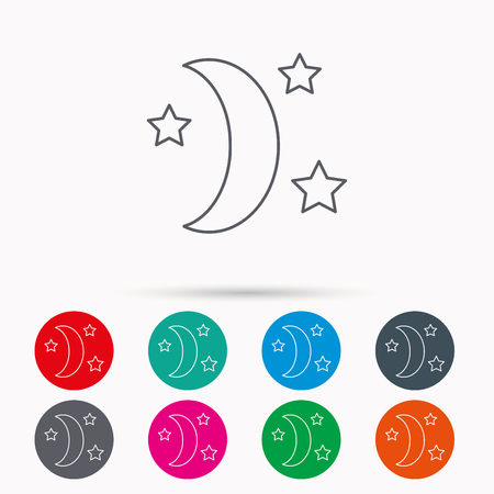 moonbeam: Night or sleep icon. Moon and stars sign. Crescent astronomy symbol. Linear icons in circles on white background.