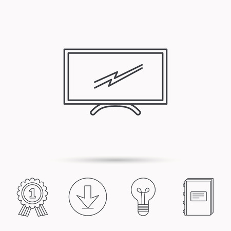 led display: Lcd tv icon. Led monitor sign. Widescreen display symbol. Download arrow, lamp, learn book and award medal icons.