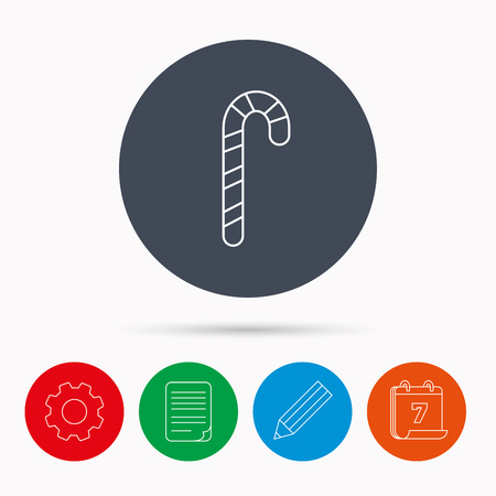 lolly pop: Candy cane icon. Sugar lollipop sign. Sweet lolly pop symbol. Calendar, cogwheel, document file and pencil icons. Illustration