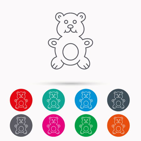 plush: Teddy-bear icon. Baby toy sign. Plush animal symbol. Linear icons in circles on white background. Illustration