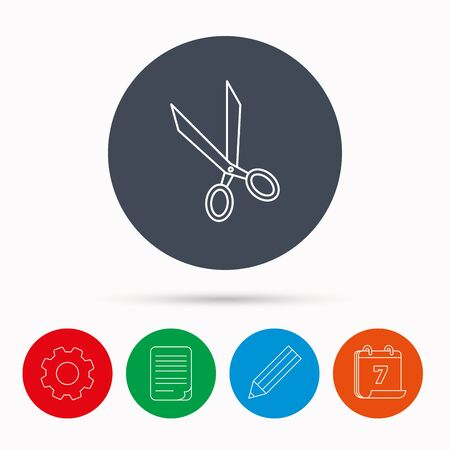hairdressing scissors: Tailor scissors icon. Hairdressing sign. Grooming symbol. Calendar, cogwheel, document file and pencil icons. Illustration