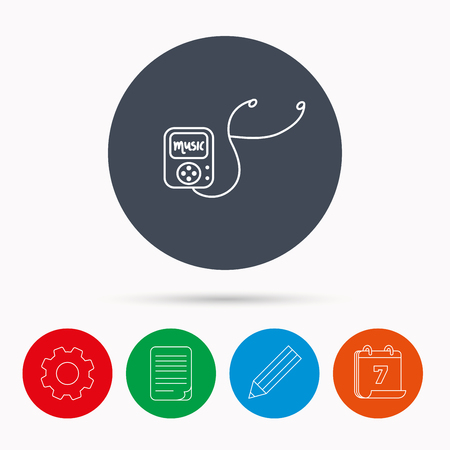songs: Music player icon. Songs portable device sign. Multimedia sound technology symbol. Calendar, cogwheel, document file and pencil icons. Illustration