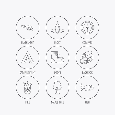 fishing float: Maple tree, fishing float and hiking boots icons. Compass, flashlight and fire linear signs. Camping tent, fish and backpack icons. Linear colored in circle edge icons. Illustration
