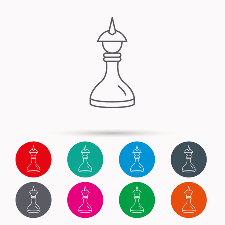Strategy icon. Chess queen or king sign. Mind game symbol. Linear icons in circles on white background.
