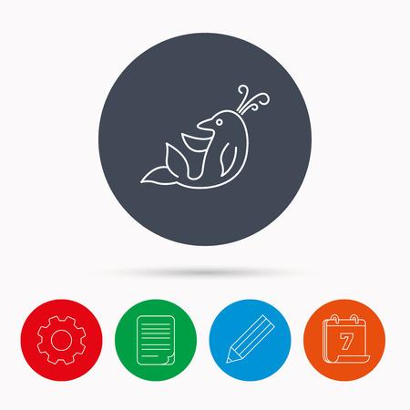 cetacean: Dolphin icon. Cetacean mammal sign. Delphinidae with fountain symbol. Calendar, cogwheel, document file and pencil icons. Illustration