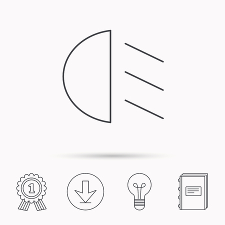 dipped: Passing light icon. Dipped beam sign. Download arrow, lamp, learn book and award medal icons.