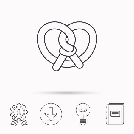 Pretzel icon. Bakery food sign. Traditional bavaria snack symbol. Download arrow, lamp, learn book and award medal icons.