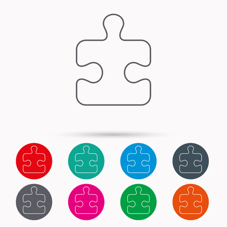 logical: Puzzle icon. Jigsaw logical game sign. Boardgame piece symbol. Linear icons in circles on white background.
