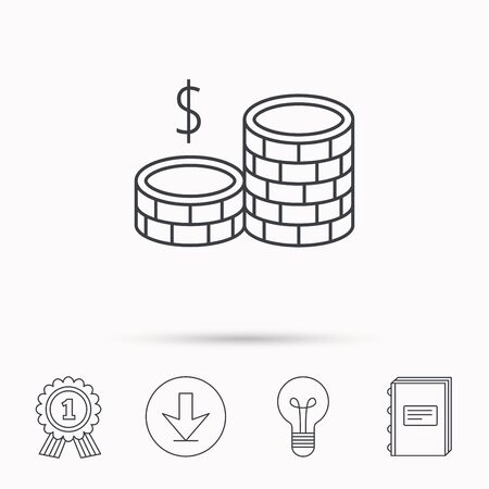cash book: Dollar coins icon. Cash money sign. Bank finance symbol. Download arrow, lamp, learn book and award medal icons.