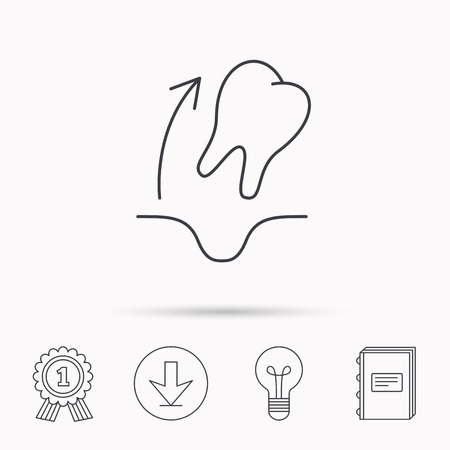 Tooth extraction icon. Dental paradontosis sign. Download arrow, lamp, learn book and award medal icons. Illustration
