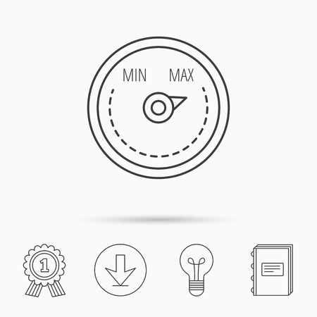 regulator: Heat regulator icon. Radiator thermometer sign. Download arrow, lamp, learn book and award medal icons. Illustration