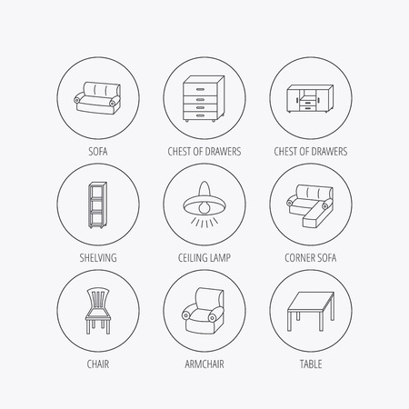 shelving: Corner sofa, table and armchair icons. Chair, ceiling lamp and chest of drawers linear signs. Shelving, furniture flat line icons. Linear colored in circle edge icons. Illustration