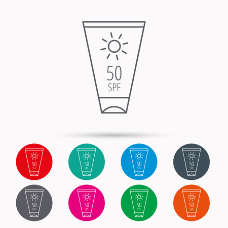 sun lotion: Sun cream container icon. Beach lotion sign. Linear icons in circles on white background. Illustration