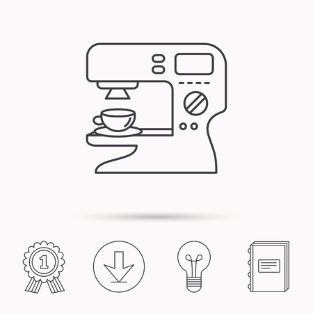 sign maker: Coffee maker icon. Hot drink machine sign. Download arrow, lamp, learn book and award medal icons.
